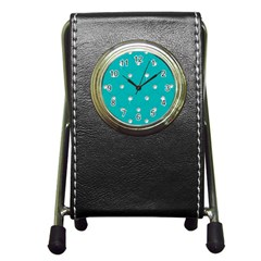 Turquoise Diamond Bling Stationery Holder Clock by artattack4all