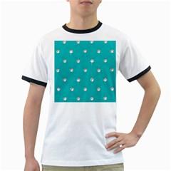Turquoise Diamond Bling White Ringer Mens'' T Shirt by artattack4all