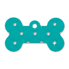 Turquoise Diamond Bling Single Sided Dog Tag (bone) by artattack4all