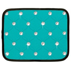 Turquoise Diamond Bling 12  Netbook Case by artattack4all