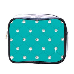 Turquoise Diamond Bling Single Sided Cosmetic Case by artattack4all