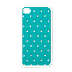 Turquoise Diamond Bling White Apple Iphone 4 Case by artattack4all