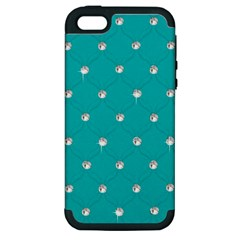 Turquoise Diamond Bling Apple Iphone 5 Hardshell Case (pc+silicone) by artattack4all
