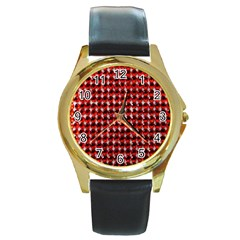 Deep Red Sparkle Bling Black Leather Gold Rim Watch (round) by artattack4all