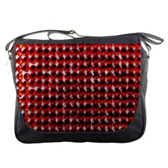 Deep Red Sparkle Bling Messenger Bag by artattack4all