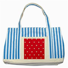 Red Diamond Bling  Blue Striped Tote Bag by artattack4all