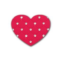 Red Diamond Bling  4 Pack Rubber Drinks Coaster (heart)