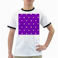 Royal Purple Sparkle Bling White Ringer Mens'' T Shirt by artattack4all