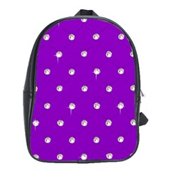 Royal Purple Sparkle Bling Large School Backpack by artattack4all