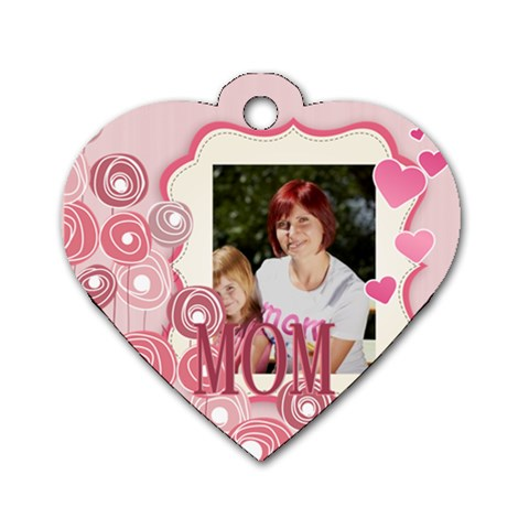 Mothers Day By Jacob   Dog Tag Heart (one Side)   D4vhyu8w3ik8   Www Artscow Com Front