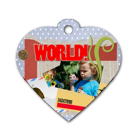 Kids, Fun, Child, Play, Happy By Jacob   Dog Tag Heart (one Side)   Exkm5co0cvrn   Www Artscow Com Front