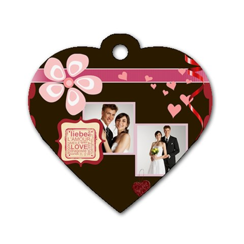 Love,memory, Happy, Fun  By Jacob   Dog Tag Heart (one Side)   Dr9hbfi52evf   Www Artscow Com Front