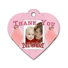 Mothers Love, Mon, Happy, Family, Heart,flower By Joely   Dog Tag Heart (two Sides)   8b2le2bi1fra   Www Artscow Com Front