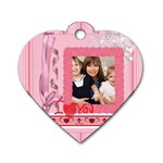 mothers love, mon, happy, family, heart,flower - Dog Tag Heart (Two Sides)