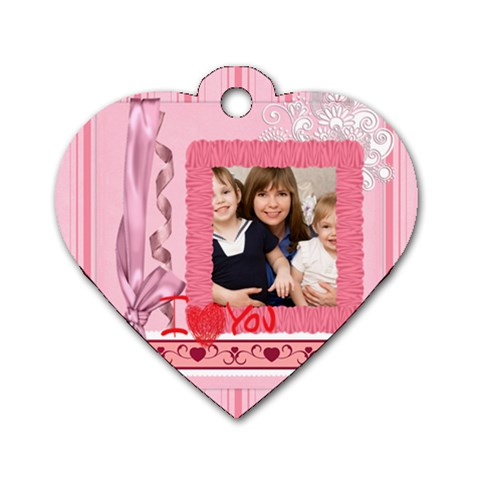Mothers Love, Mon, Happy, Family, Heart,flower By Joely   Dog Tag Heart (one Side)   Xefm62r2pcrl   Www Artscow Com Front