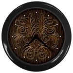 Leather-Look Bouquet Wall Clock (Black)