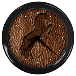 Leather-Look Horse 2 Wall Clock (Black)