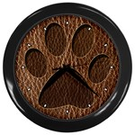 Leather-Look Paw Wall Clock (Black)