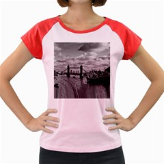 River Thames Waterfall Colored Cap Sleeve Raglan Womens  T-shirt by Londonimages