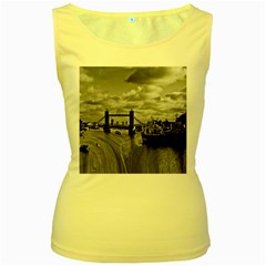 River Thames Waterfall Yellow Womens  Tank Top by Londonimages