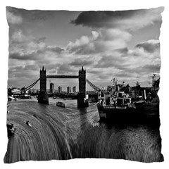 River Thames Waterfall Large Cushion Case (two Sides) by Londonimages