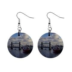 Thames Waterfall Color Mini Button Earrings by Londonimages