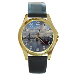 Thames Waterfall Color Black Leather Gold Rim Watch (round) by Londonimages
