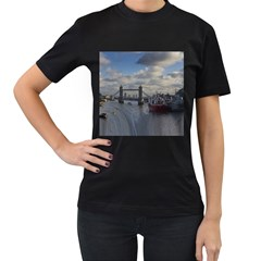 Thames Waterfall Color Twin Sided Black Womens'' T Shirt by Londonimages