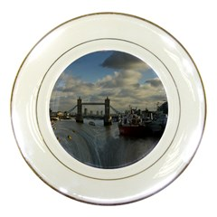 Thames Waterfall Color Porcelain Display Plate by Londonimages