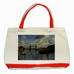Thames Waterfall Color Red Tote Bag by Londonimages