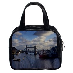 Thames Waterfall Color Twin Sided Satched Handbag by Londonimages