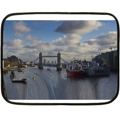 Thames Waterfall Color Twin Sided Mini Fleece Blanket by Londonimages