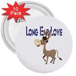 Longear love 3  Button (10 pack)