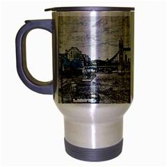River Thames Art Brushed Chrome Travel Mug by Londonimages