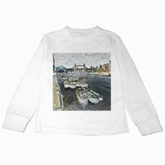 River Thames Art White Long Sleeve Kids'' T Shirt by Londonimages