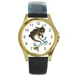 Geniedonkey (1) Round Gold Metal Watch