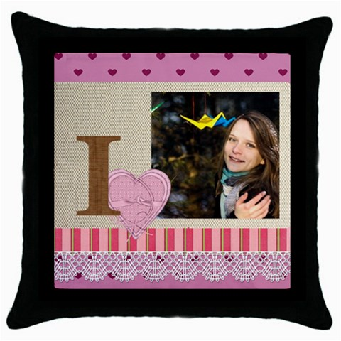 Love By Ki Ki   Throw Pillow Case (black)   Obeetc4obnq0   Www Artscow Com Front