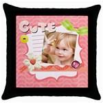 easter, spring, kids, flower - Throw Pillow Case (Black)