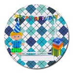 Happy Birthday For Him Round Mousepad - Collage Round Mousepad