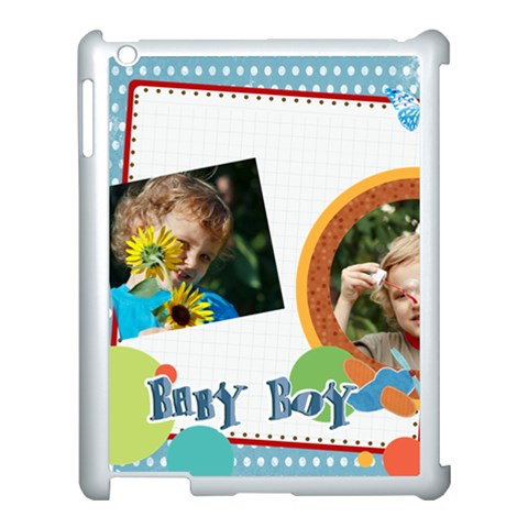 Flower , Kids, Happy, Fun, Green By Jacob   Apple Ipad 3/4 Case (white)   Zm1935v3eo2i   Www Artscow Com Front