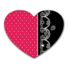 Lace Dots With Black Pink Mousepad (heart)