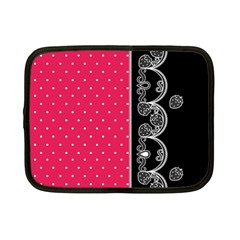 Lace Dots With Black Pink Netbook Case (small) by strawberrymilk