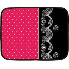 Lace Dots With Black Pink Mini Fleece Blanket(two Sides) by strawberrymilk