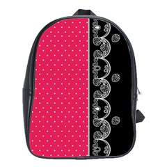 Lace Dots With Black Pink School Bag (large) by strawberrymilk
