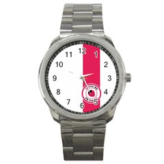 Brand Ribbon Pink With White Sport Metal Watch