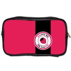 Brand Ribbon Black With Pink Toiletries Bag (one Side) by strawberrymilk
