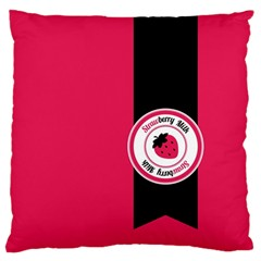 Brand Ribbon Black With Pink Large Cushion Case (one Side) by strawberrymilk