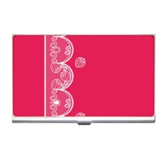 Strawberry Lace White With Pink Business Card Holder by strawberrymilk