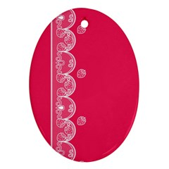 Strawberry Lace White With Pink Oval Ornament (Two Sides)