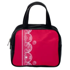 Strawberry Lace White With Pink Classic Handbag (one Side)